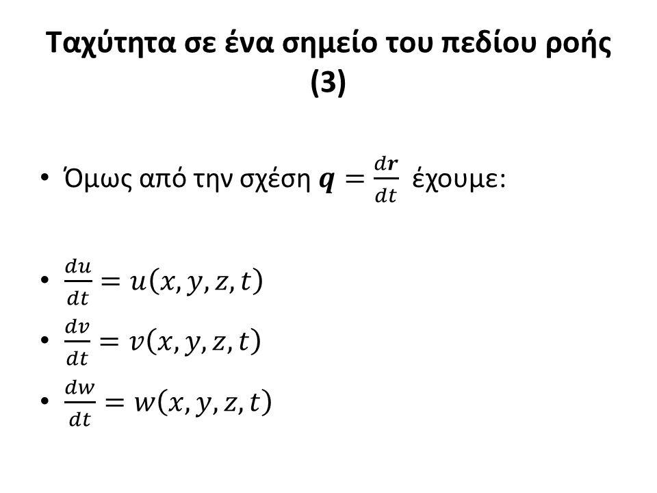 Ταχύτητα σε ένα σημείο του πεδίου ροής (3)