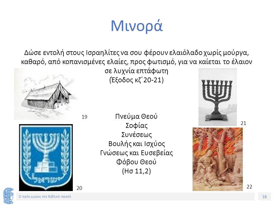 18 Ο Ιερός χώρος στο Βιβλικό Ισραήλ Μινορά Δώσε εντολή στους Ισραηλίτες να σου φέρουν ελαιόλαδο χωρίς μούργα, καθαρό, από κοπανισμένες ελαίες, προς φωτισμό, για να καίεται το έλαιον σε λυχνία επτάφωτη (Έξοδος κζ΄20-21) Πνεύμα Θεού Σοφίας Συνέσεως Βουλής και Ισχύος Γνώσεως και Ευσεβείας Φόβου Θεού (Ησ 11,2) 1919 20 21 22