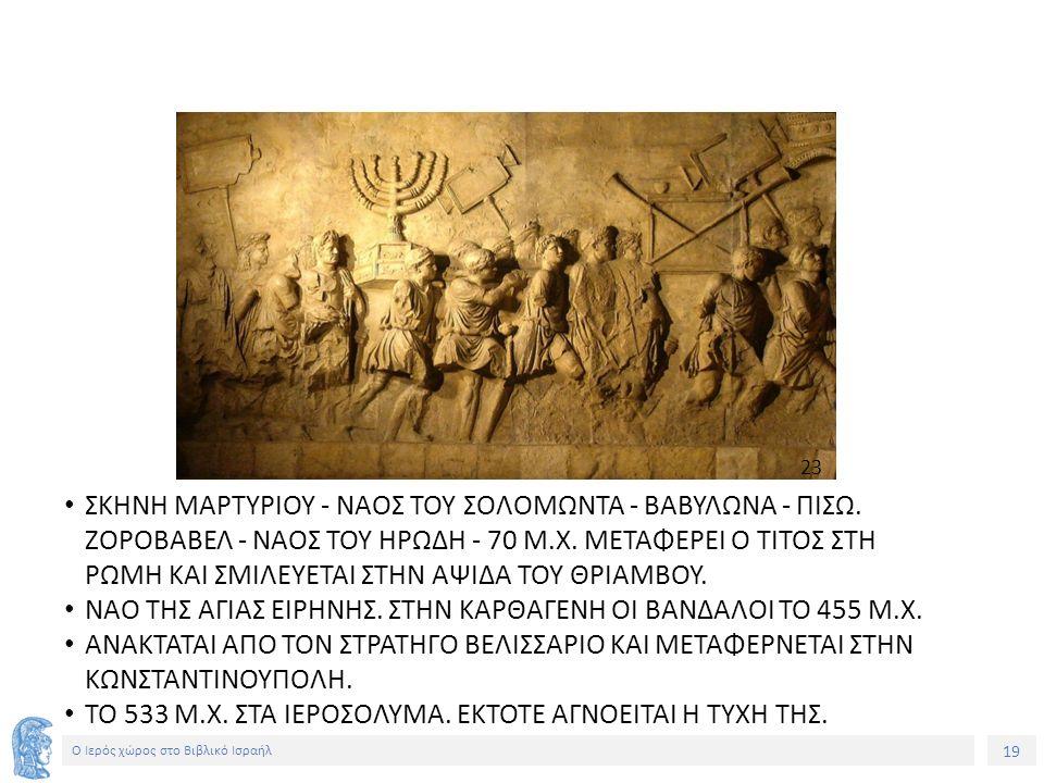19 Ο Ιερός χώρος στο Βιβλικό Ισραήλ ΣΚΗΝΗ ΜΑΡΤΥΡΙΟΥ - ΝΑΟΣ ΤΟΥ ΣΟΛΟΜΩΝΤΑ - ΒΑΒΥΛΩΝΑ - ΠΙΣΩ.