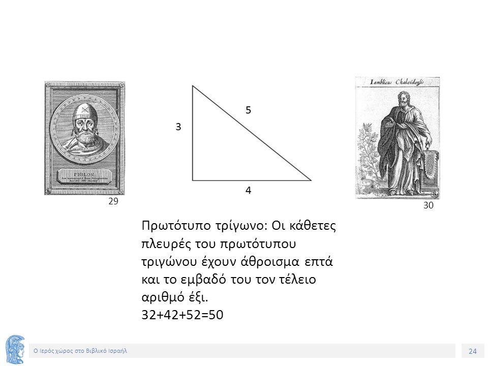 24 Ο Ιερός χώρος στο Βιβλικό Ισραήλ Πρωτότυπο τρίγωνο: Οι κάθετες πλευρές του πρωτότυπου τριγώνου έχουν άθροισμα επτά και το εμβαδό του τον τέλειο αριθμό έξι.