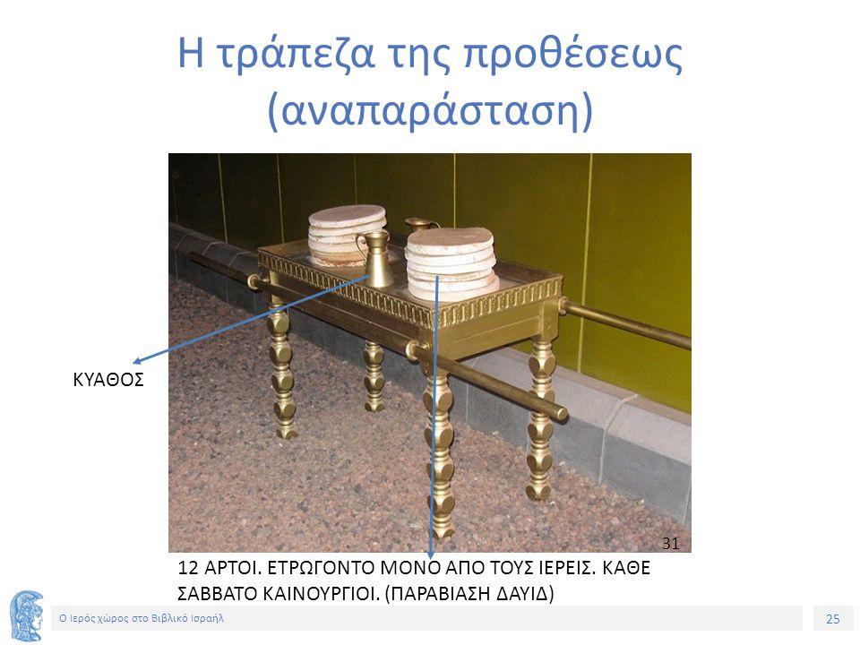 25 Ο Ιερός χώρος στο Βιβλικό Ισραήλ Η τράπεζα της προθέσεως (αναπαράσταση) ΚΥΑΘΟΣ 12 ΑΡΤΟΙ.