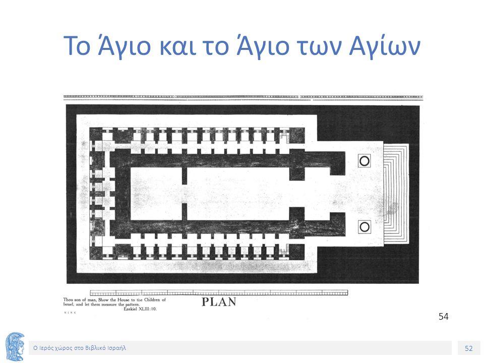 52 Ο Ιερός χώρος στο Βιβλικό Ισραήλ Το Άγιο και το Άγιο των Αγίων 54