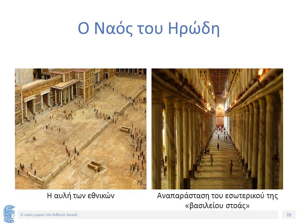 Ο Ιερός χώρος στο Βιβλικό Ισραήλ Ο Ναός του Ηρώδη Η αυλή των εθνικών Αναπαράσταση του εσωτερικού της «βασιλείου στοάς» 7980