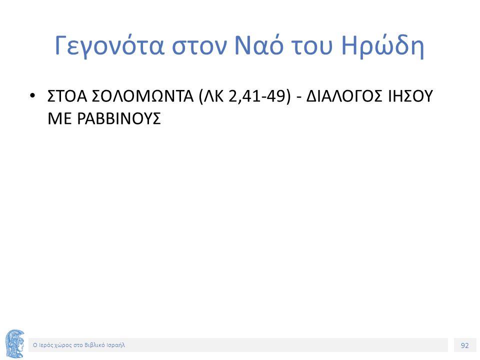 92 Ο Ιερός χώρος στο Βιβλικό Ισραήλ Γεγονότα στον Ναό του Ηρώδη ΣΤΟΑ ΣΟΛΟΜΩΝΤΑ (ΛΚ 2,41-49) - ΔΙΑΛΟΓΟΣ ΙΗΣΟΥ ΜΕ ΡΑΒΒΙΝΟΥΣ