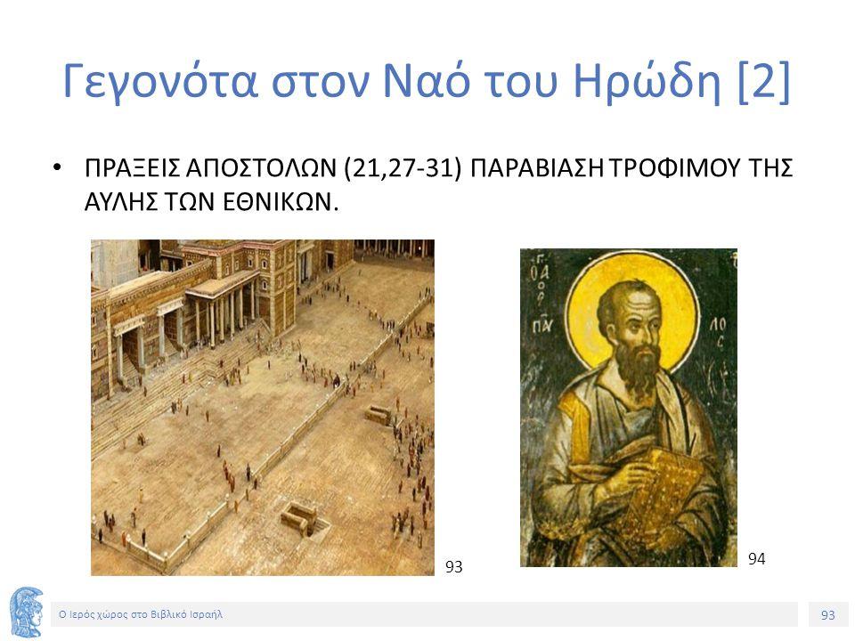 93 Ο Ιερός χώρος στο Βιβλικό Ισραήλ Γεγονότα στον Ναό του Ηρώδη [2] ΠΡΑΞΕΙΣ ΑΠΟΣΤΟΛΩΝ (21,27-31) ΠΑΡΑΒΙΑΣΗ ΤΡΟΦΙΜΟΥ ΤΗΣ ΑΥΛΗΣ ΤΩΝ ΕΘΝΙΚΩΝ.