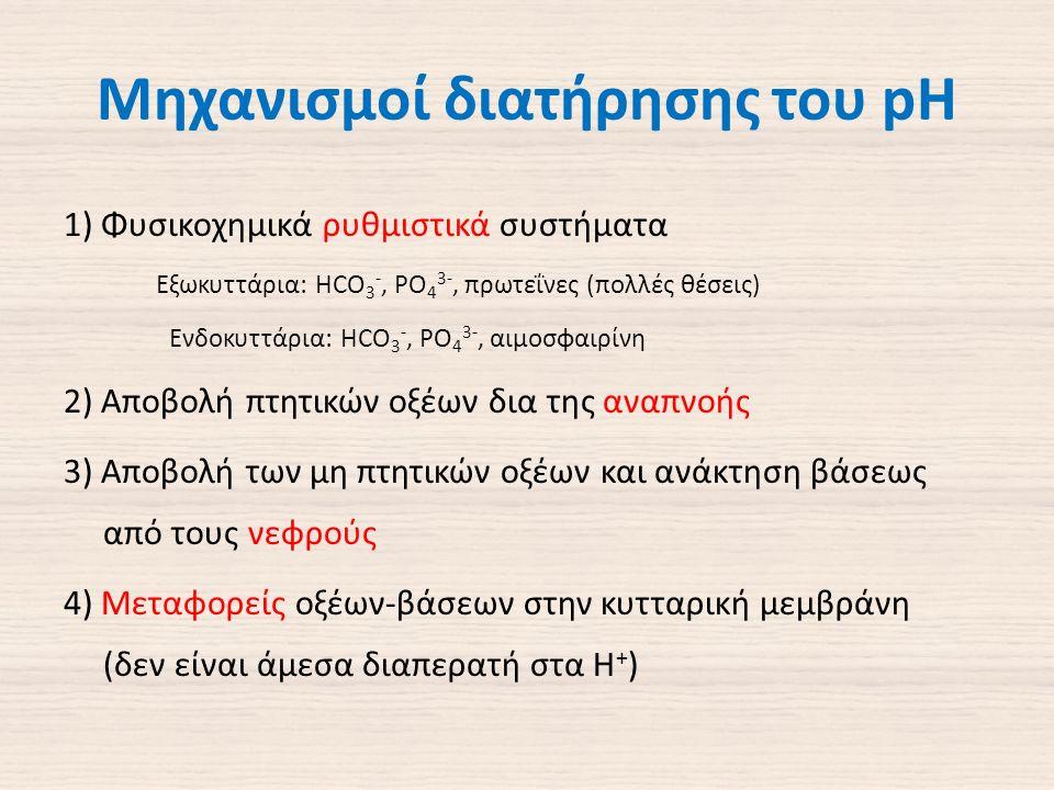 Μηχανισμοί διατήρησης του pH 1) Φυσικοχημικά ρυθμιστικά συστήματα Εξωκυττάρια: HCO 3 -, PO 4 3-, πρωτεΐνες (πολλές θέσεις) Ενδοκυττάρια: HCO 3 -, PO 4 3-, αιμοσφαιρίνη 2) Αποβολή πτητικών οξέων δια της αναπνοής 3) Αποβολή των μη πτητικών οξέων και ανάκτηση βάσεως από τους νεφρούς 4) Μεταφορείς οξέων-βάσεων στην κυτταρική μεμβράνη (δεν είναι άμεσα διαπερατή στα Η + )