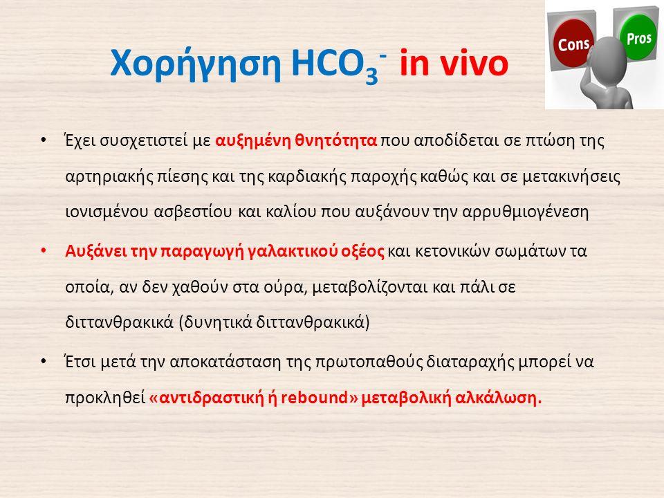 Χορήγηση HCO 3 - in vivo Έχει συσχετιστεί με αυξημένη θνητότητα που αποδίδεται σε πτώση της αρτηριακής πίεσης και της καρδιακής παροχής καθώς και σε μετακινήσεις ιονισμένου ασβεστίου και καλίου που αυξάνουν την αρρυθμιογένεση Αυξάνει την παραγωγή γαλακτικού οξέος και κετονικών σωμάτων τα οποία, αν δεν χαθούν στα ούρα, μεταβολίζονται και πάλι σε διττανθρακικά (δυνητικά διττανθρακικά) Έτσι μετά την αποκατάσταση της πρωτοπαθούς διαταραχής μπορεί να προκληθεί «αντιδραστική ή rebound» μεταβολική αλκάλωση.