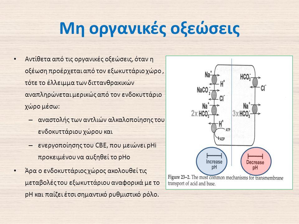 Μη οργανικές οξεώσεις Αντίθετα από τις οργανικές οξεώσεις, όταν η οξέωση προέρχεται από τον εξωκυττάριο χώρο, τότε το έλλειμμα των διττανθρακικών αναπληρώνεται μερικώς από τον ενδοκυττάριο χώρο μέσω: – αναστολής των αντλιών αλκαλοποίησης του ενδοκυττάριου χώρου και – ενεργοποίησης του CBE, που μειώνει pHi προκειμένου να αυξηθεί το pHo Άρα ο ενδοκυττάριος χώρος ακολουθεί τις μεταβολές του εξωκυττάριου αναφορικά με το pH και παίζει έτσι σημαντικό ρυθμιστικό ρόλο.