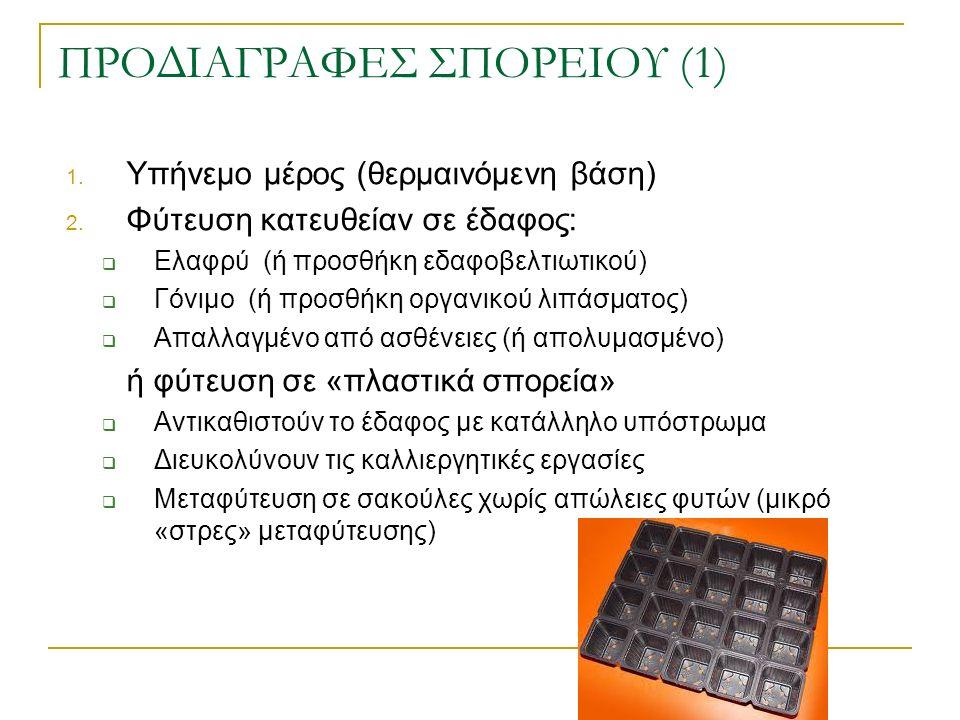 ΠΡΟΔΙΑΓΡΑΦΕΣ ΣΠΟΡΕΙΟΥ (1) 1.Υπήνεμο μέρος (θερμαινόμενη βάση) 2.