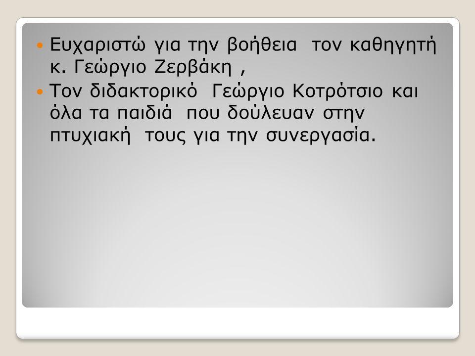 Ευχαριστώ για την βοήθεια τον καθηγητή κ. Γεώργιο Ζερβάκη, Τον διδακτορικό Γεώργιο Κοτρότσιο και όλα τα παιδιά που δούλευαν στην πτυχιακή τους για την