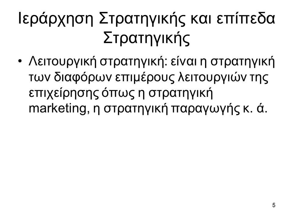 5 Ιεράρχηση Στρατηγικής και επίπεδα Στρατηγικής Λειτουργική στρατηγική: είναι η στρατηγική των διαφόρων επιμέρους λειτουργιών της επιχείρησης όπως η στρατηγική marketing, η στρατηγική παραγωγής κ.