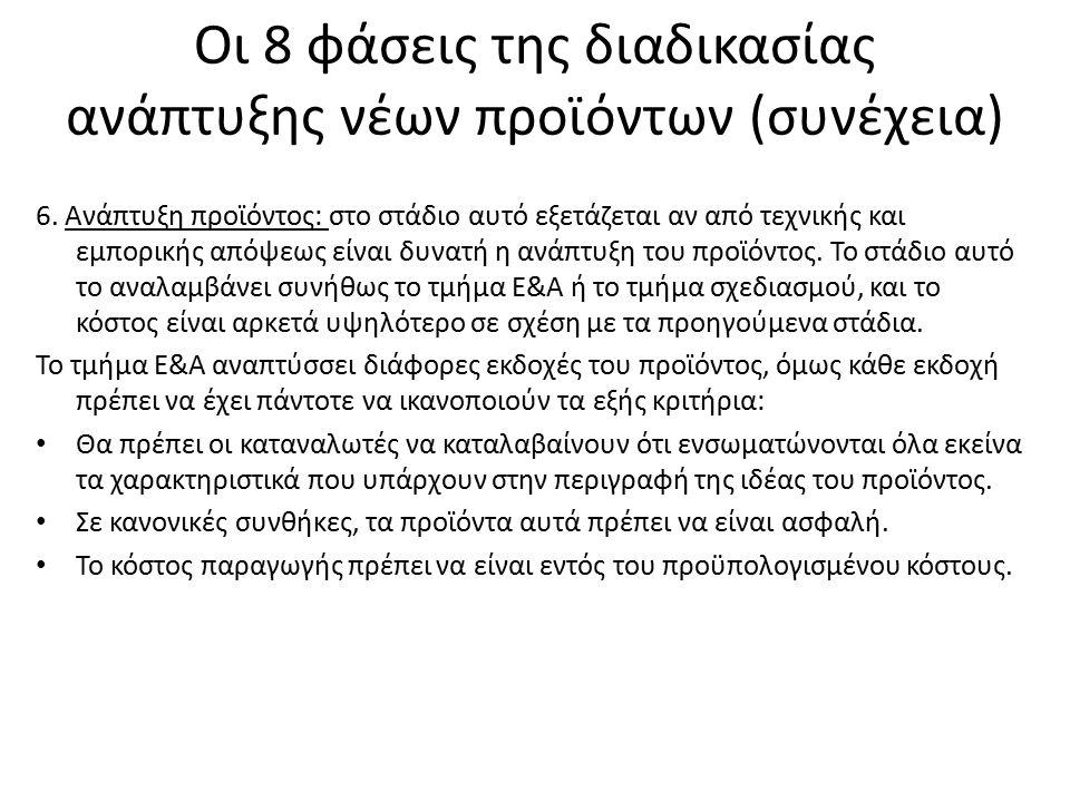 Οι 8 φάσεις της διαδικασίας ανάπτυξης νέων προϊόντων (συνέχεια) 7.