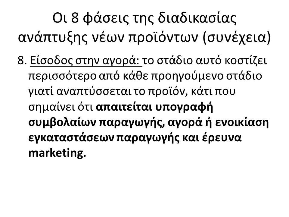 Οι 8 φάσεις της διαδικασίας ανάπτυξης νέων προϊόντων (συνέχεια) Πιο συγκεκριμένα, σύμφωνα με τον Kotler, πρέπει να ληφθούν υπόψη τα εξής: Επιλογή σωστού χρόνου: 1.Να εισέλθει πρώτη στην αγορά: αν συμβεί αυτό κατοχυρώνει τον τίτλο του ηγέτη, εξασφαλίζει πελατεία και καλός αντιπροσώπους.
