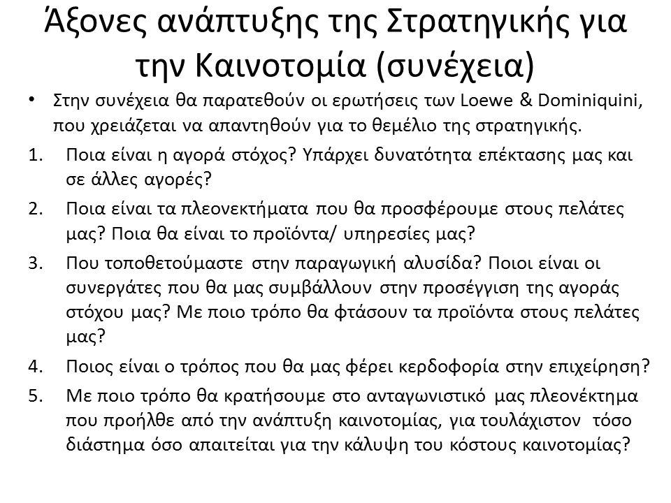 Άξονες ανάπτυξης της Στρατηγικής για την Καινοτομία (συνέχεια) Στην συνέχεια θα παρατεθούν οι ερωτήσεις των Loewe & Dominiquini, που χρειάζεται να απα