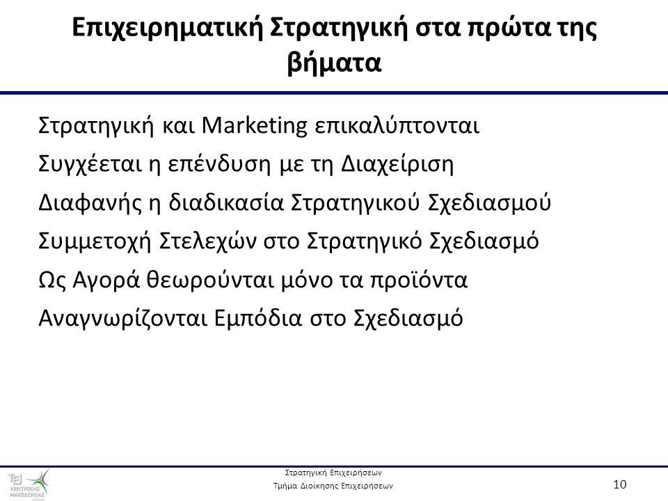 Στρατηγική Επιχειρήσεων Τμήμα Διοίκησης Επιχειρήσεων 10 Επιχειρηματική Στρατηγική στα πρώτα της βήματα Στρατηγική και Marketing επικαλύπτονται Συγχέεται η επένδυση με τη Διαχείριση Διαφανής η διαδικασία Στρατηγικού Σχεδιασμού Συμμετοχή Στελεχών στο Στρατηγικό Σχεδιασμό Ως Αγορά θεωρούνται μόνο τα προϊόντα Αναγνωρίζονται Εμπόδια στο Σχεδιασμό