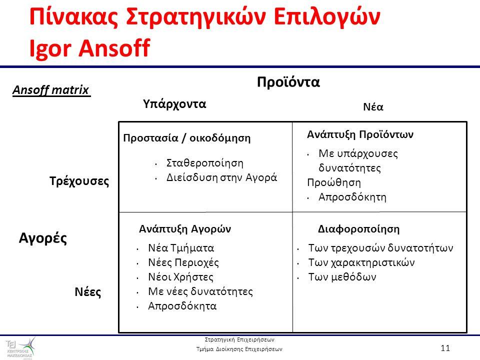 Στρατηγική Επιχειρήσεων Τμήμα Διοίκησης Επιχειρήσεων 11 Πίνακας Στρατηγικών Επιλογών Igor Ansoff Προστασία / οικοδόμηση Ανάπτυξη Προϊόντων ΔιαφοροποίησηΑνάπτυξη Αγορών Νέα Τμήματα Νέες Περιοχές Νέοι Χρήστες Με νέες δυνατότητες Απροσδόκητα Σταθεροποίηση Διείσδυση στην Αγορά Με υπάρχουσες δυνατότητες Προώθηση Απροσδόκητη Των τρεχουσών δυνατοτήτων Των χαρακτηριστικών Των μεθόδων Υπάρχοντα Νέα Προϊόντα Τρέχουσες Νέες Αγορές Ansoff matrix