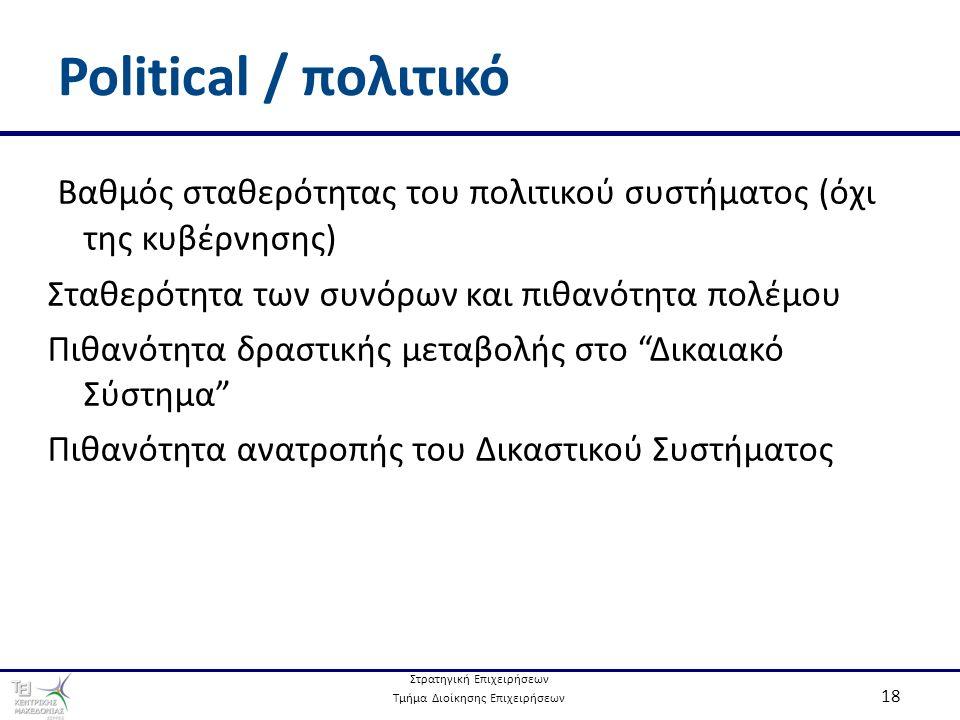 Στρατηγική Επιχειρήσεων Τμήμα Διοίκησης Επιχειρήσεων 18 Political / πολιτικό Βαθμός σταθερότητας του πολιτικού συστήματος (όχι της κυβέρνησης) Σταθερότητα των συνόρων και πιθανότητα πολέμου Πιθανότητα δραστικής μεταβολής στο Δικαιακό Σύστημα Πιθανότητα ανατροπής του Δικαστικού Συστήματος
