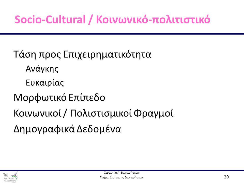 Στρατηγική Επιχειρήσεων Τμήμα Διοίκησης Επιχειρήσεων 20 Socio-Cultural / Κοινωνικό-πολιτιστικό Τάση προς Επιχειρηματικότητα Ανάγκης Ευκαιρίας Μορφωτικό Επίπεδο Κοινωνικοί / Πολιστισμικοί Φραγμοί Δημογραφικά Δεδομένα