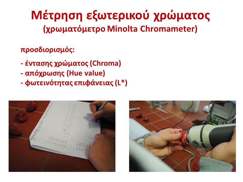 Μέτρηση εξωτερικού χρώματος (χρωματόμετρο Minolta Chromameter) προσδιορισμός: - έντασης χρώματος (Chroma) - απόχρωσης (Hue value) - φωτεινότητας επιφάνειας (L*)