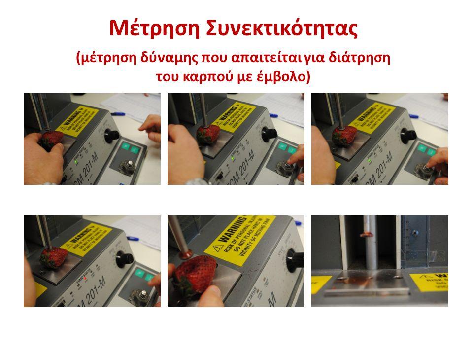 Μέτρηση Συνεκτικότητας (μέτρηση δύναμης που απαιτείται για διάτρηση του καρπού με έμβολο)