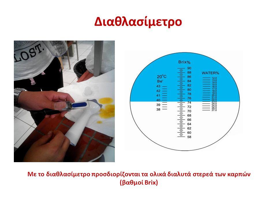 Διαθλασίμετρο Με το διαθλασίμετρο προσδιορίζονται τα ολικά διαλυτά στερεά των καρπών (βαθμοί Brix)