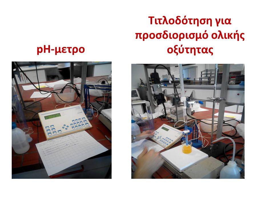 Τιτλοδότηση για προσδιορισμό ολικής οξύτητας pH-μετρο