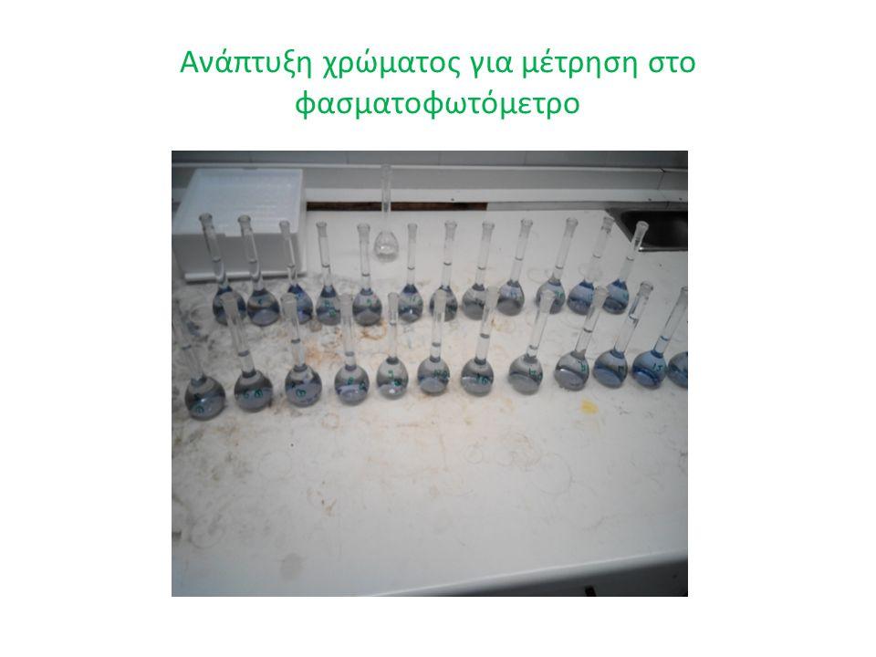 Ανάπτυξη χρώματος για μέτρηση στο φασματοφωτόμετρο