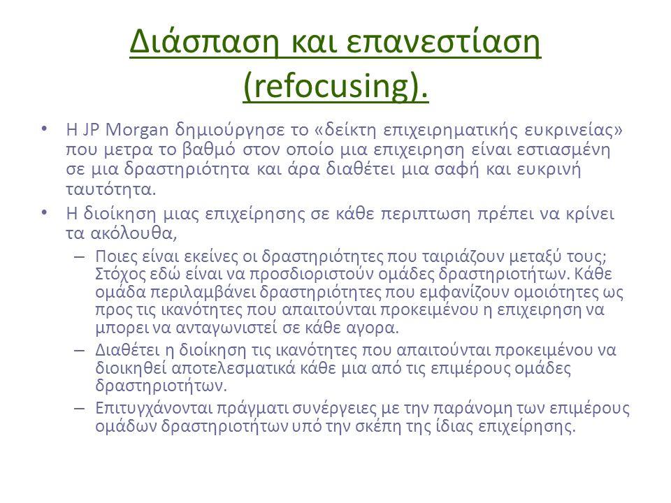 Διάσπαση και επανεστίαση (refocusing). Η JP Morgan δημιούργησε το «δείκτη επιχειρηματικής ευκρινείας» που μετρα το βαθμό στον οποίο μια επιχειρηση είν