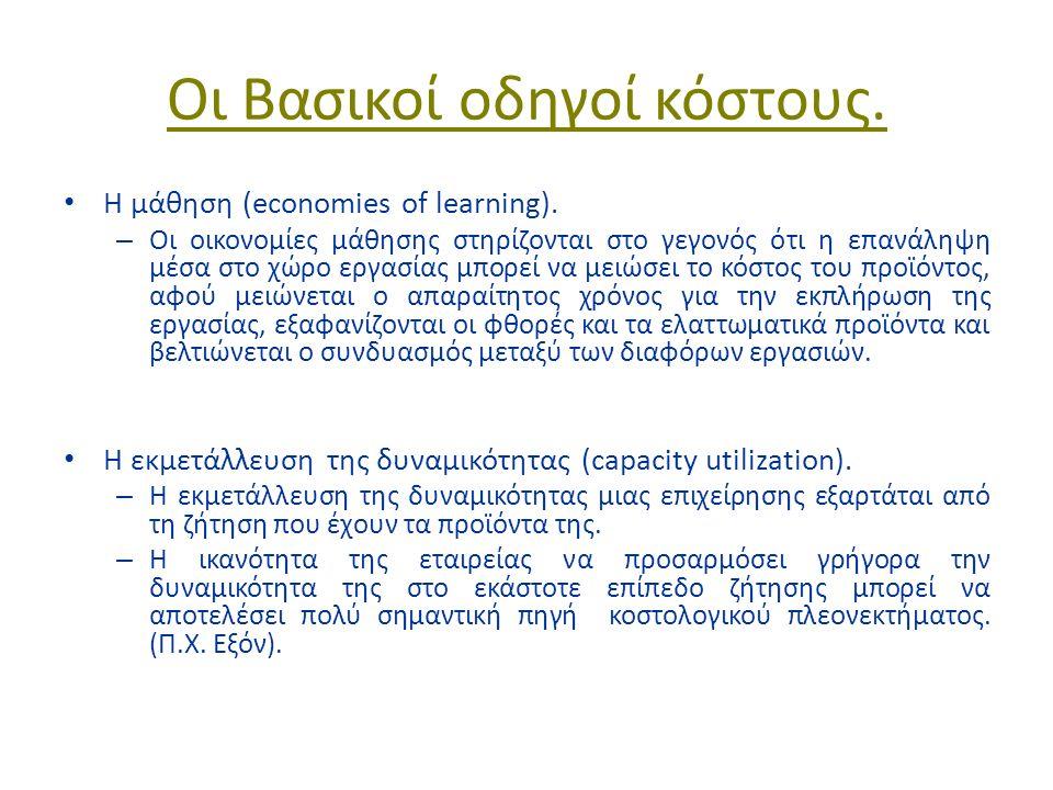 Οι Βασικοί οδηγοί κόστους. Η μάθηση (economies of learning).