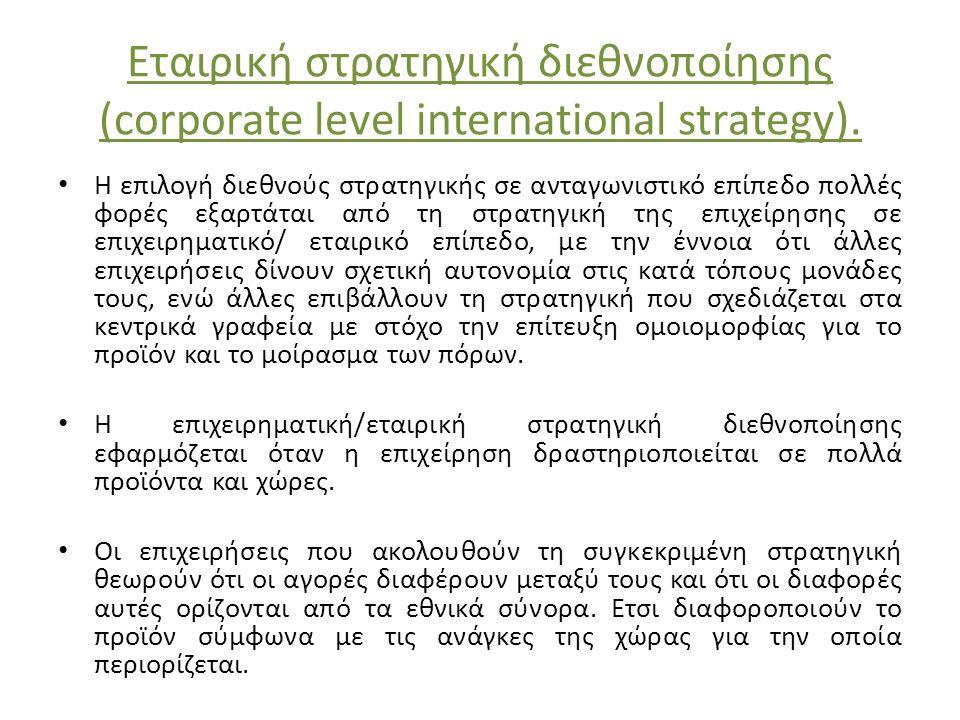 Εταιρική στρατηγική διεθνοποίησης (corporate level international strategy). H επιλογή διεθνούς στρατηγικής σε ανταγωνιστικό επίπεδο πολλές φορές εξαρτ