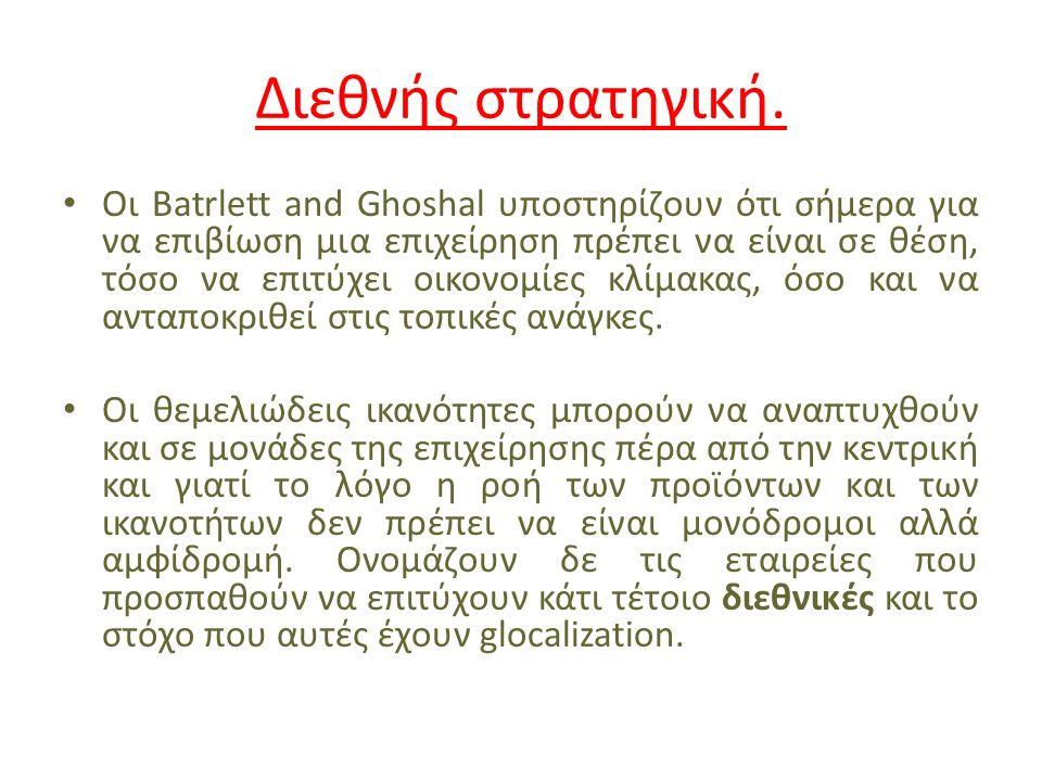 Διεθνής στρατηγική. Οι Batrlett and Ghoshal υποστηρίζουν ότι σήμερα για να επιβίωση μια επιχείρηση πρέπει να είναι σε θέση, τόσο να επιτύχει οικονομίε