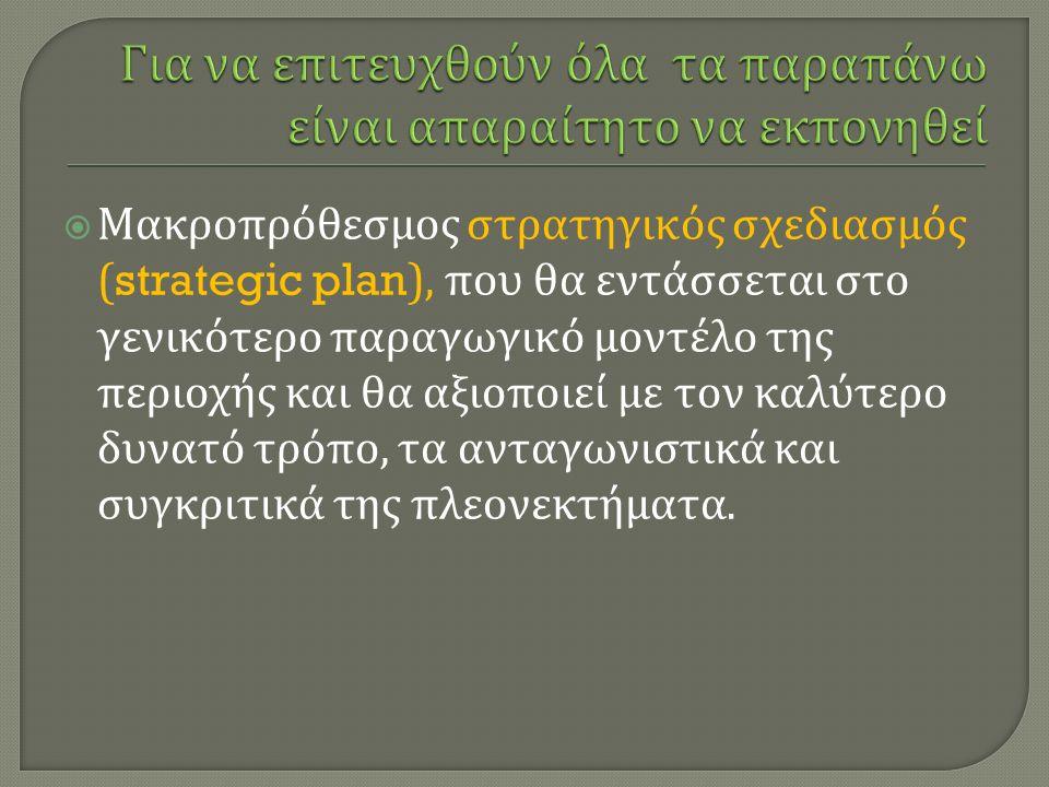  Μακροπρόθεσμος στρατηγικός σχεδιασμός (strategic plan), που θα εντάσσεται στο γενικότερο παραγωγικό μοντέλο της περιοχής και θα αξιοποιεί με τον καλύτερο δυνατό τρόπο, τα ανταγωνιστικά και συγκριτικά της πλεονεκτήματα.