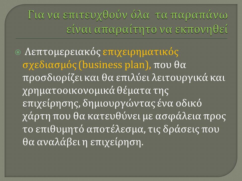 Λεπτομερειακός επιχειρηματικός σχεδιασμός (business plan), που θα προσδιορίζει και θα επιλύει λειτουργικά και χρηματοοικονομικά θέματα της επιχείρησης, δημιουργώντας ένα οδικό χάρτη που θα κατευθύνει με ασφάλεια προς το επιθυμητό αποτέλεσμα, τις δράσεις που θα αναλάβει η επιχείρηση.