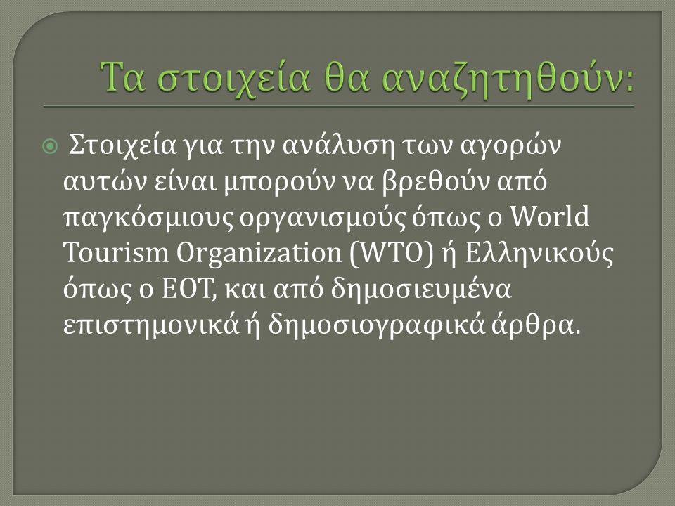  Στοιχεία για την ανάλυση των αγορών αυτών είναι µ πορούν να βρεθούν από παγκόσ µ ιους οργανισ µ ούς όπως ο World Tourism Organization (WTO) ή Ελληνικούς όπως ο ΕΟΤ, και από δη µ οσιευ µ ένα επιστη µ ονικά ή δη µ οσιογραφικά άρθρα.