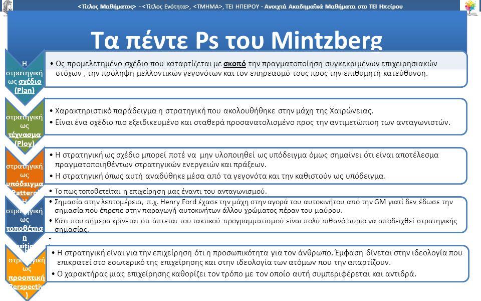 1 -,, ΤΕΙ ΗΠΕΙΡΟΥ - Ανοιχτά Ακαδημαϊκά Μαθήματα στο ΤΕΙ Ηπείρου Τα πέντε Ps του Mintzberg H στρατηγική ως σχέδιο (Plan) Ως προμελετημένο σχέδιο που καταρτίζεται με σκοπό την πραγματοποίηση συγκεκριμένων επιχειρησιακών στόχων, την πρόληψη μελλοντικών γεγονότων και τον επηρεασμό τους προς την επιθυμητή κατεύθυνση.