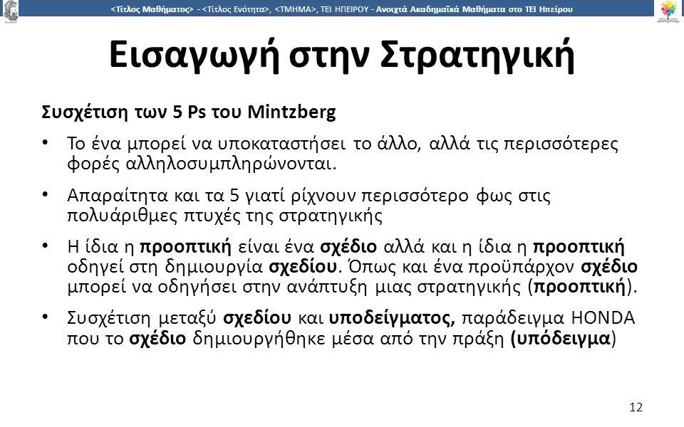 1212 -,, ΤΕΙ ΗΠΕΙΡΟΥ - Ανοιχτά Ακαδημαϊκά Μαθήματα στο ΤΕΙ Ηπείρου Εισαγωγή στην Στρατηγική Συσχέτιση των 5 Ps του Μintzberg Το ένα μπορεί να υποκαταστήσει το άλλο, αλλά τις περισσότερες φορές αλληλοσυμπληρώνονται.