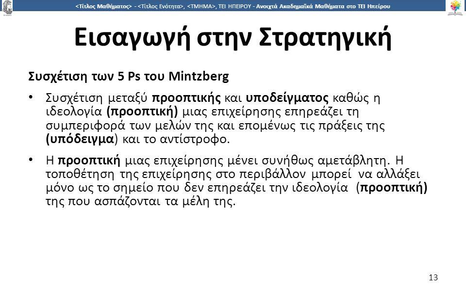 1313 -,, ΤΕΙ ΗΠΕΙΡΟΥ - Ανοιχτά Ακαδημαϊκά Μαθήματα στο ΤΕΙ Ηπείρου Εισαγωγή στην Στρατηγική Συσχέτιση των 5 Ps του Μintzberg Συσχέτιση μεταξύ προοπτικής και υποδείγματος καθώς η ιδεολογία (προοπτική) μιας επιχείρησης επηρεάζει τη συμπεριφορά των μελών της και επομένως τις πράξεις της (υπόδειγμα) και το αντίστροφο.