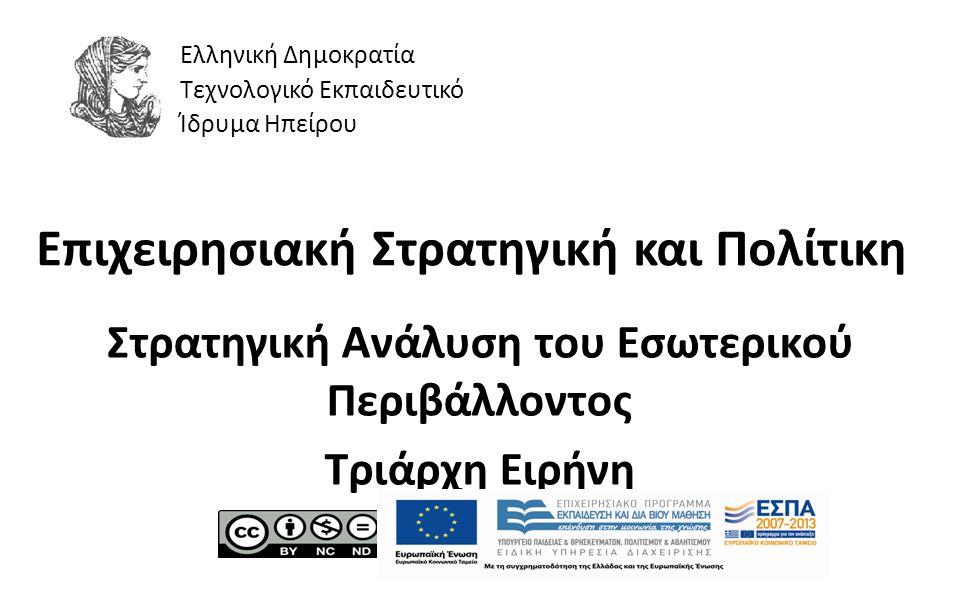1 Επιχειρησιακή Στρατηγική και Πολίτικη Στρατηγική Ανάλυση του Εσωτερικού Περιβάλλοντος Τριάρχη Ειρήνη Ελληνική Δημοκρατία Τεχνολογικό Εκπαιδευτικό Ίδρυμα Ηπείρου