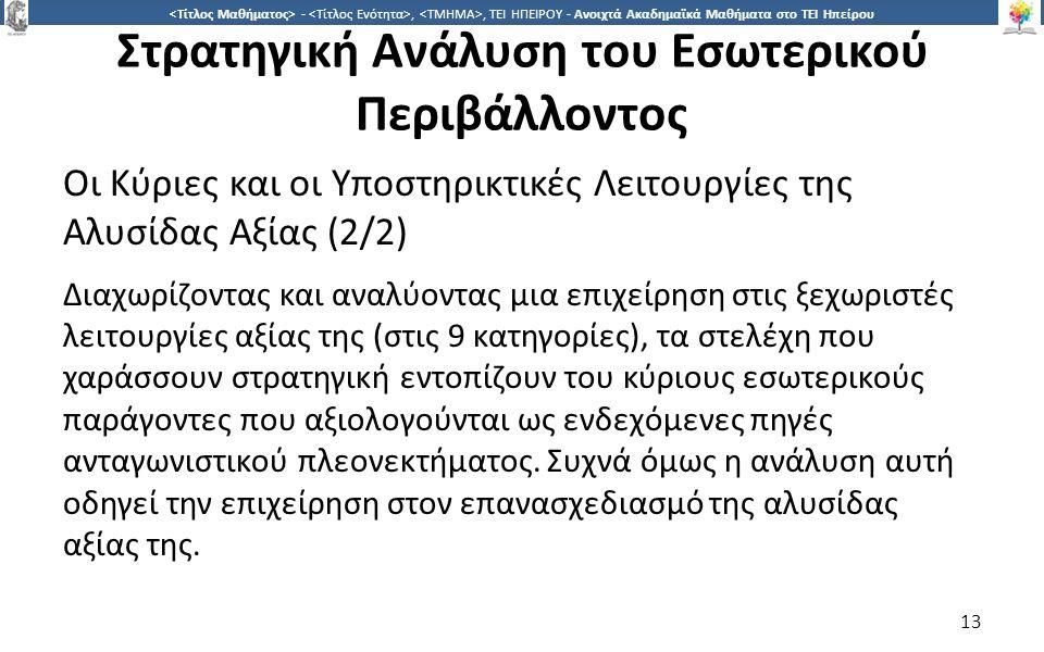 1313 -,, ΤΕΙ ΗΠΕΙΡΟΥ - Ανοιχτά Ακαδημαϊκά Μαθήματα στο ΤΕΙ Ηπείρου Στρατηγική Ανάλυση του Εσωτερικού Περιβάλλοντος Οι Κύριες και οι Υποστηρικτικές Λειτουργίες της Αλυσίδας Αξίας (2/2) Διαχωρίζοντας και αναλύοντας μια επιχείρηση στις ξεχωριστές λειτουργίες αξίας της (στις 9 κατηγορίες), τα στελέχη που χαράσσουν στρατηγική εντοπίζουν του κύριους εσωτερικούς παράγοντες που αξιολογούνται ως ενδεχόμενες πηγές ανταγωνιστικού πλεονεκτήματος.