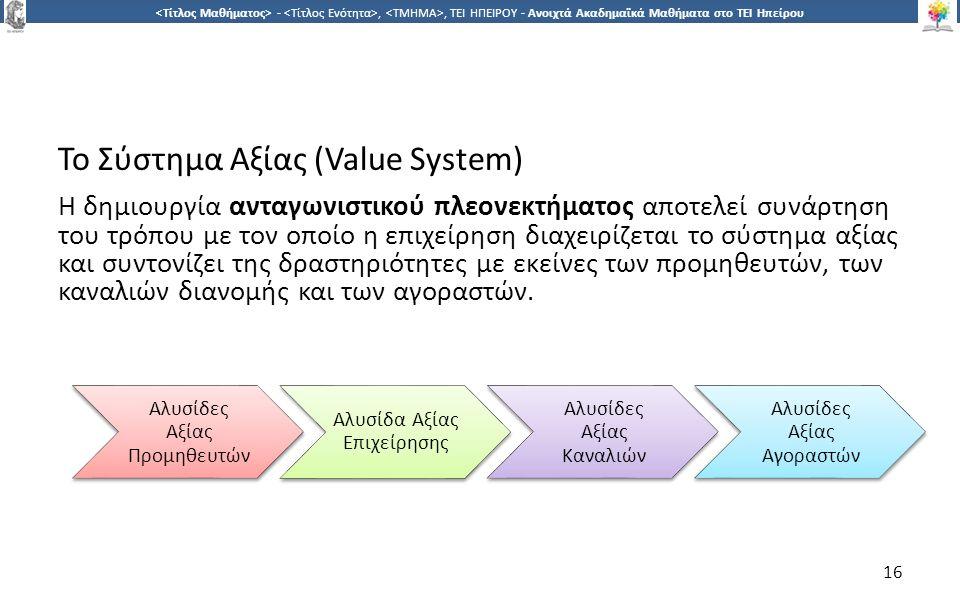 1616 -,, ΤΕΙ ΗΠΕΙΡΟΥ - Ανοιχτά Ακαδημαϊκά Μαθήματα στο ΤΕΙ Ηπείρου Το Σύστημα Αξίας (Value System) Η δημιουργία ανταγωνιστικού πλεονεκτήματος αποτελεί συνάρτηση του τρόπου με τον οποίο η επιχείρηση διαχειρίζεται το σύστημα αξίας και συντονίζει της δραστηριότητες με εκείνες των προμηθευτών, των καναλιών διανομής και των αγοραστών.