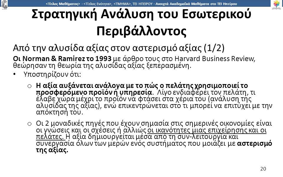 2020 -,, ΤΕΙ ΗΠΕΙΡΟΥ - Ανοιχτά Ακαδημαϊκά Μαθήματα στο ΤΕΙ Ηπείρου Στρατηγική Ανάλυση του Εσωτερικού Περιβάλλοντος Από την αλυσίδα αξίας στον αστερισμό αξίας (1/2) Οι Norman & Ramirez το 1993 με άρθρο τους στο Harvard Business Review, θεώρησαν τη θεωρία της αλυσίδας αξίας ξεπερασμένη.