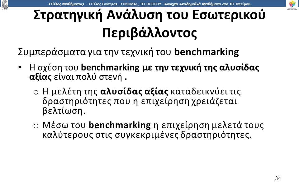 3434 -,, ΤΕΙ ΗΠΕΙΡΟΥ - Ανοιχτά Ακαδημαϊκά Μαθήματα στο ΤΕΙ Ηπείρου Στρατηγική Ανάλυση του Εσωτερικού Περιβάλλοντος Συμπεράσματα για την τεχνική του benchmarking Η σχέση του benchmarking με την τεχνική της αλυσίδας αξίας είναι πολύ στενή.