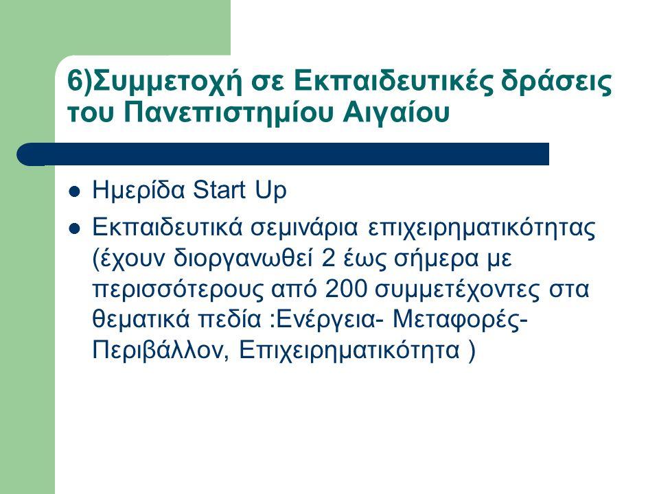 6)Συμμετοχή σε Εκπαιδευτικές δράσεις του Πανεπιστημίου Αιγαίου Ημερίδα Start Up Εκπαιδευτικά σεμινάρια επιχειρηματικότητας (έχουν διοργανωθεί 2 έως σήμερα με περισσότερους από 200 συμμετέχοντες στα θεματικά πεδία :Ενέργεια- Μεταφορές- Περιβάλλον, Επιχειρηματικότητα )