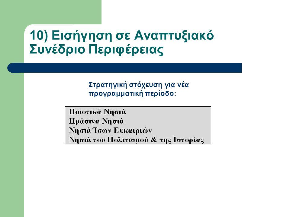 10) Εισήγηση σε Αναπτυξιακό Συνέδριο Περιφέρειας Στρατηγική στόχευση για νέα προγραμματική περίοδο: