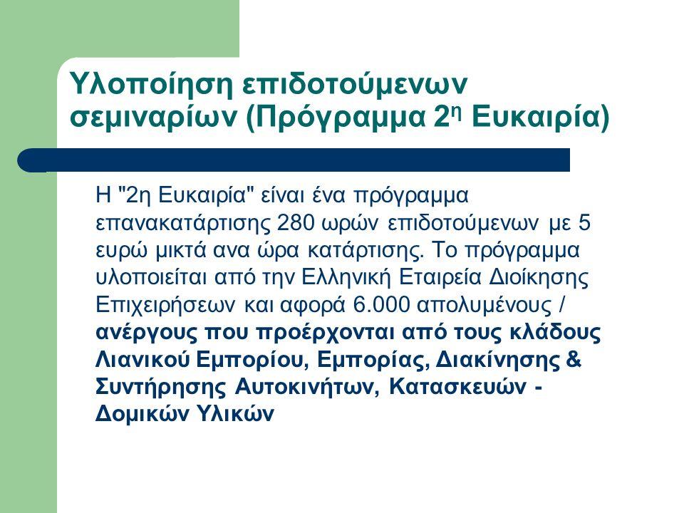 Υλοποίηση επιδοτούμενων σεμιναρίων (Πρόγραμμα 2 η Ευκαιρία) H 2η Ευκαιρία είναι ένα πρόγραμμα επανακατάρτισης 280 ωρών επιδοτούμενων με 5 ευρώ μικτά ανα ώρα κατάρτισης.