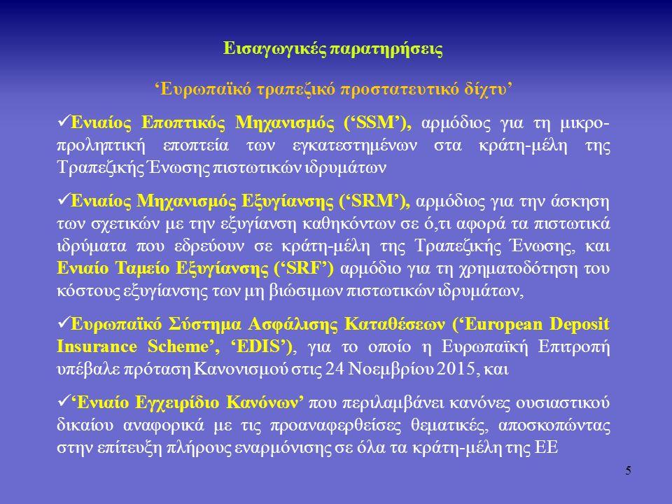 6 Προληπτική Εποπτεία Περίοδος πριν την Τραπεζική Ένωση Εξυγίανση Χρηματοδοτικές ρυθμίσεις Ταμείο Εγγύησης Καταθέσεων & Επενδύσεων Τράπεζα της Ελλάδος Χρηματοδότηση εξυγίανσης Εγγύηση καταθέσεων Μονάδα Εξυγίανσης της ΤτΕ Σκέλος Εξυγίανσης του ΤΕΚΕ Σκέλος Κάλυψης Καταθέσεων του ΤΕΚΕ Προστασία επενδυτών Σκέλος Κάλυψης Επενδύσεων του ΤΕΚΕ