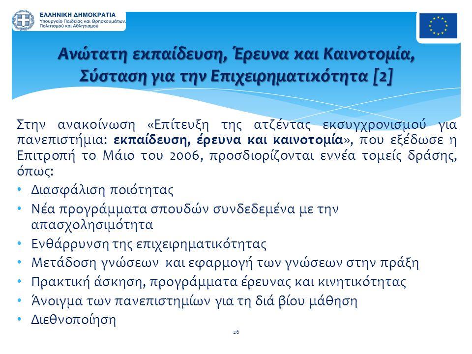 Στην ανακοίνωση «Επίτευξη της ατζέντας εκσυγχρονισμού για πανεπιστήμια: εκπαίδευση, έρευνα και καινοτομία», που εξέδωσε η Επιτροπή το Μάιο του 2006, π