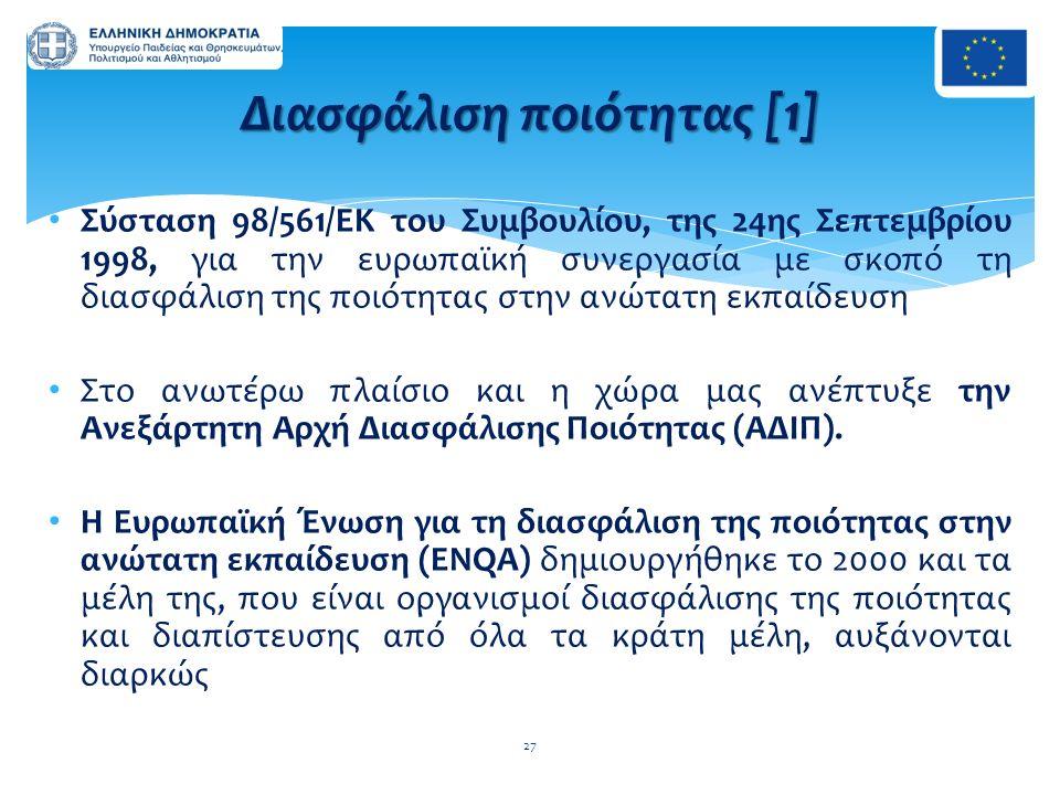 Σύσταση 98/561/ΕΚ του Συμβουλίου, της 24ης Σεπτεμβρίου 1998, για την ευρωπαϊκή συνεργασία με σκοπό τη διασφάλιση της ποιότητας στην ανώτατη εκπαίδευση