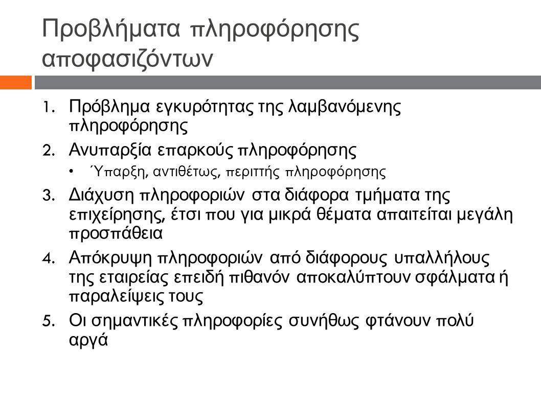 Προβλήματα π ληροφόρησης α π οφασιζόντων 1. Πρόβλημα εγκυρότητας της λαμβανόμενης π ληροφόρησης 2.