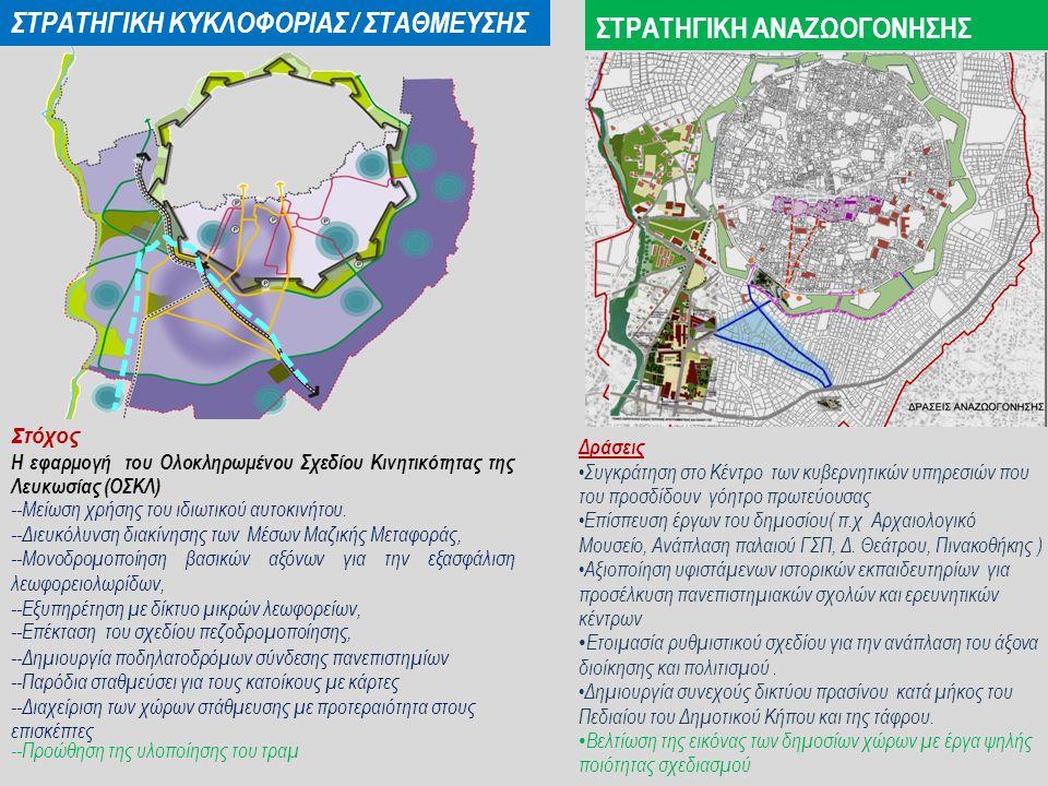ΣΤΡΑΤΗΓΙΚΗ ΚΥΚΛΟΦΟΡΙΑΣ / ΣΤΑΘΜΕΥΣΗΣ Στόχος Η εφαρμογή του Ολοκληρωμένου Σχεδίου Κινητικότητας της Λευκωσίας (ΟΣΚΛ) --Μείωση χρήσης του ιδιωτικού αυτοκινήτου.